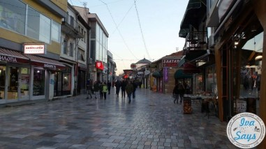Jewelry stores and other shops in the business district. The bazaar or market known as Charshija in Ohrid, Macedonia. Charshija comes from the Turkish language.