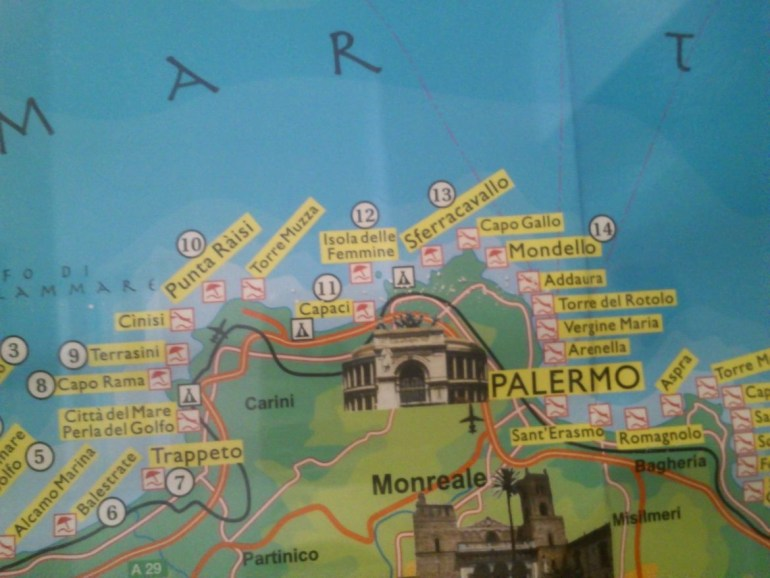 Bucket list travel destination: Sicily. Visiting and exploring the beautiful island Sicily in Italy. Romantic travel, couples travel, family travel. Tourist map of Sicily