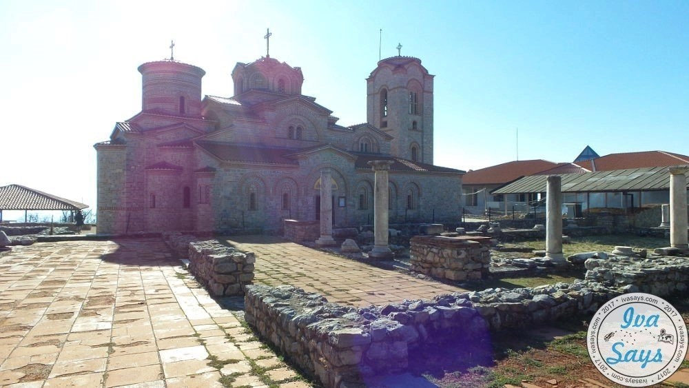 Early Basilica of SS. Clement and Panteleimon and archaeological site known as Plaoshnik at Kaneo in Ohrid, Macedonia by Lake Ohrid.