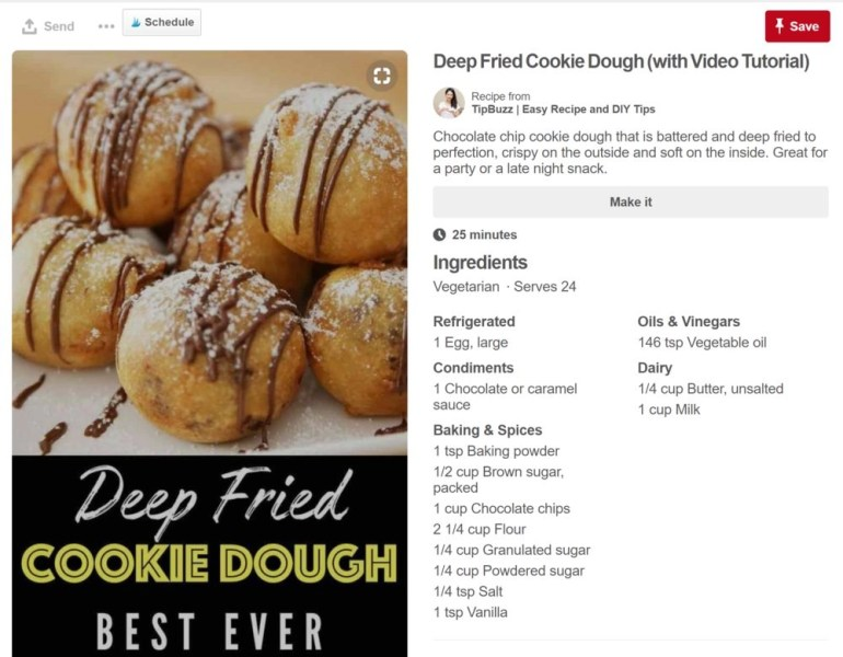 Food recipe displaying in the description box on a pin about cookie dough on Pinterest.