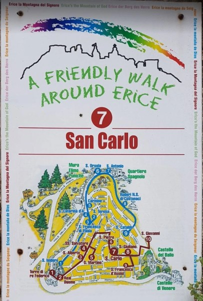Tourist Map of Erice with different walking routes. This map depicts San Carlo on the red route.