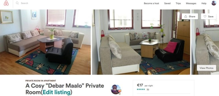 Milena's arbnb private room listed on Airbnb. Airbnb hosting tips and tricks.