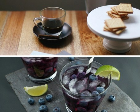 Coffe and cookies on a plate and two glasses of coke with lime drinks in a collage.