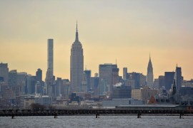 Lower Manhattan and the skyline view to NYC from Liberty State Park, located in Jersey City, NJ.