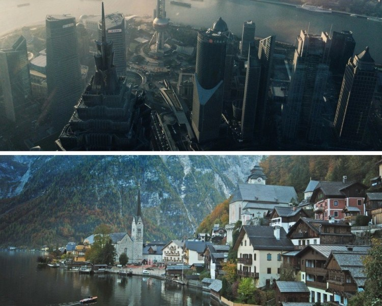 Collage of a big city versus a small local town somewhere in Europe.