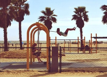 Women on yellow swings, swinging why at a beach in LA. Palm trees and clear blue sky surround the beach. The beach, surfing, and endless fun possibilities are only few of the reason to visit LA this summer.