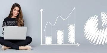 Pie charts, line and bar graphs to show representation of a woman blogging on her laptop trying to make her blog profitable. How to make side income with your blog or how to make it generate profit for you as a second or passive job.