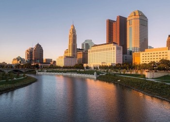 City skyline of the Cap City Columbus, Ohio. Traveling, tourism, and visiting Columbus, Ohio.