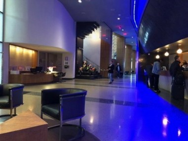 The lobby and reception area of the W Hoboken Hotel.