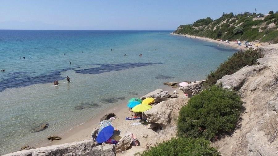 Mykoniatika Beach located south of Nea Kallikratia in Kassandra, Chalkidiki, Greece. One of the hottest and secret beaches in near Nea Kallikratia.