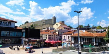 The old bazaar known as stara charshija and the fortress Kale in Skopje Macedonia