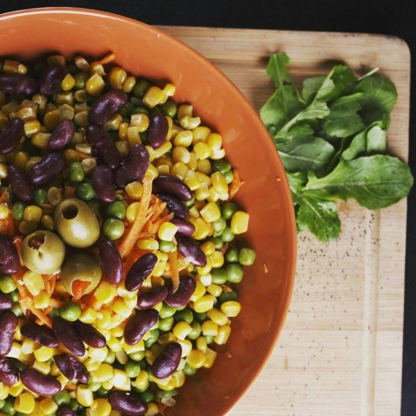 Fasting, protein, vegan salad by Freshys in Skopje, Macedonia.