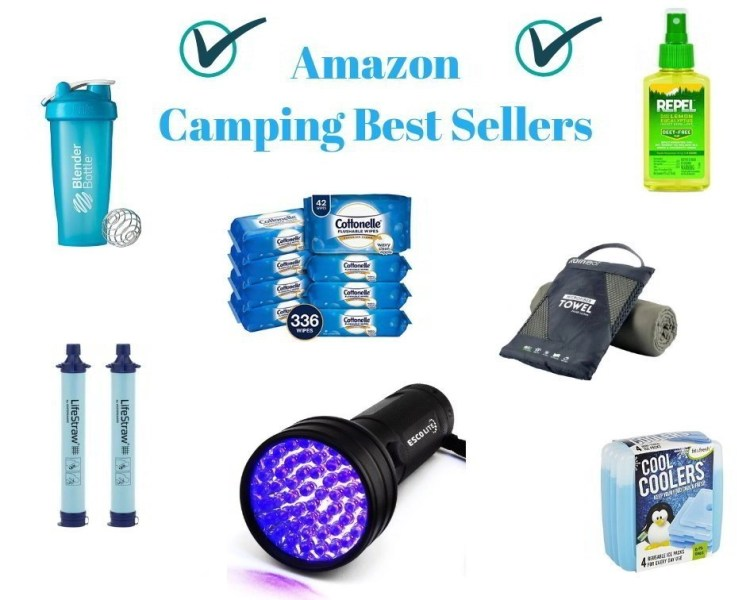 bae9a6c97 Collage of multiple Amazon Camping Gear Best Seller Products, such as car  chargers, shaker