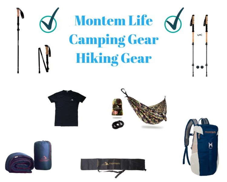 Collage of outdoor gear and products from MontemLife - sleeping bag, hemlock, trekking poles.