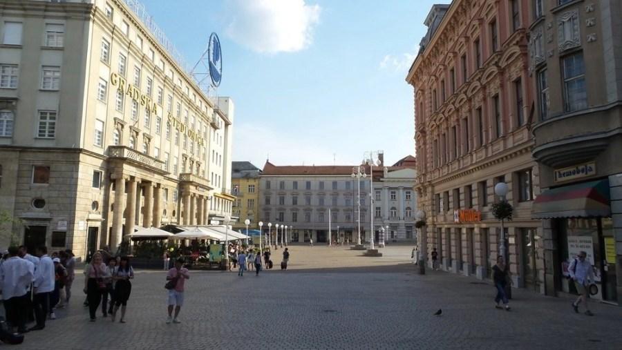People walking near Bana Jelacica Square in Zagreb.