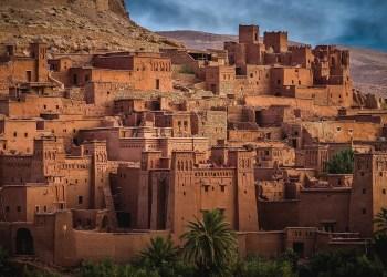 Houses in desert hill in old city in Morocco.