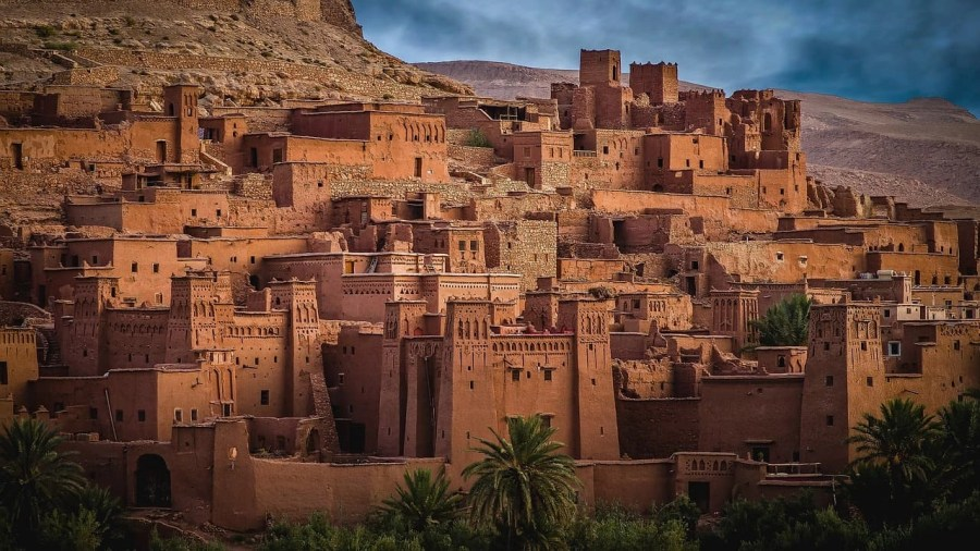 Houses in desert hill in old city in Morocco.
