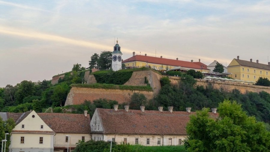 Petrovaradin Fortress and the Clock Tower in Novi Sad.