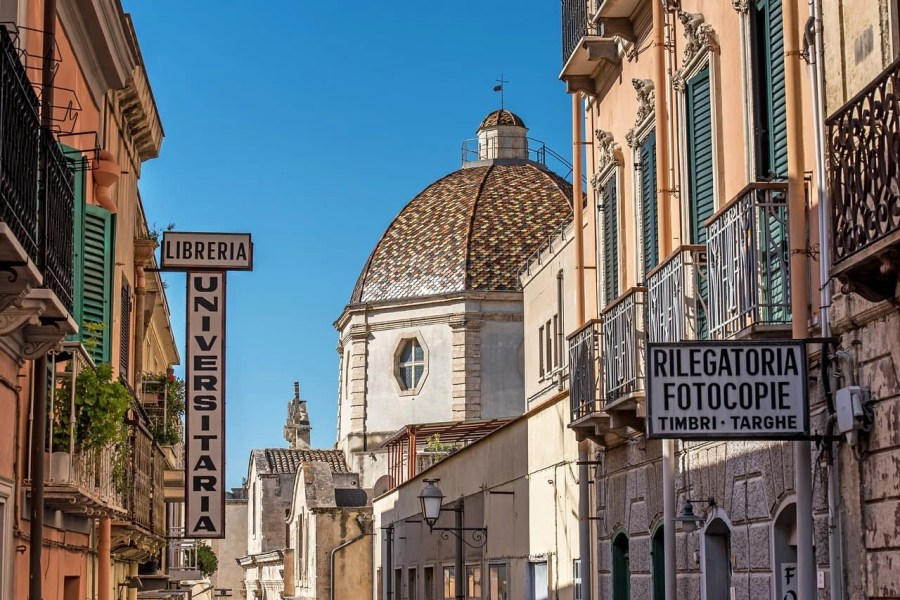 Old basilica church and houses in Cagliari, Italy
