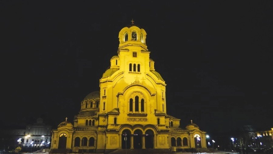 The Alexander Nevsky Cathedral in Sofia, Bulgaria at night.