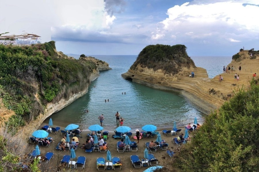 People at the Canal D'Amour beach in Corfu.