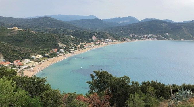 View of Agios Georgios Beach from Porto Timoni