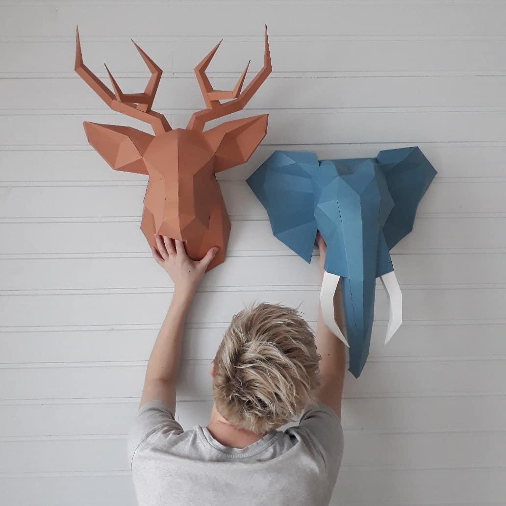 3D Origami cifre în decor de design interior de design