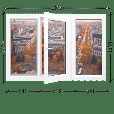 Окно трехстворчатое средняя створка поворотно-откидная Иваново