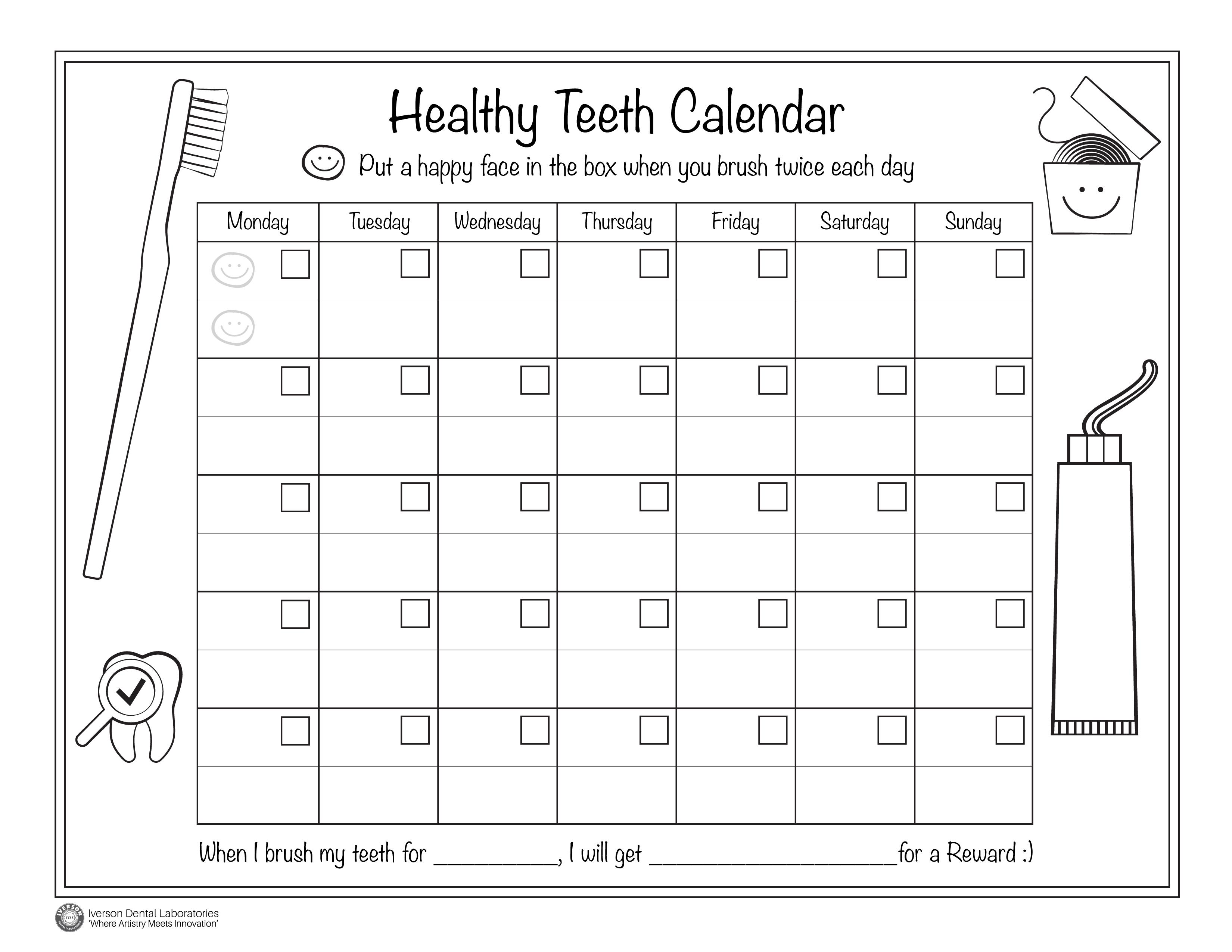 Kids Dental Health Calendar