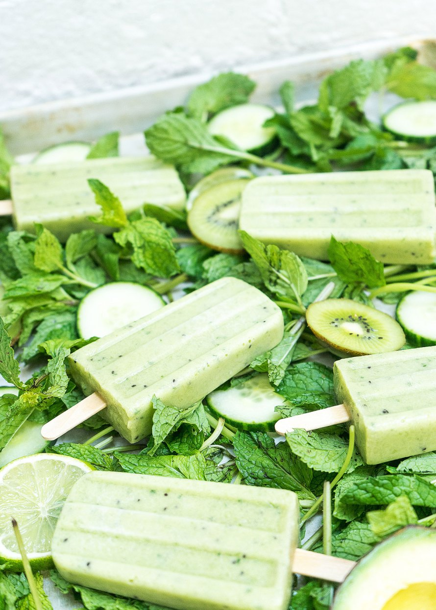 Kiwi Avocado Lime Cucumber Pops!
