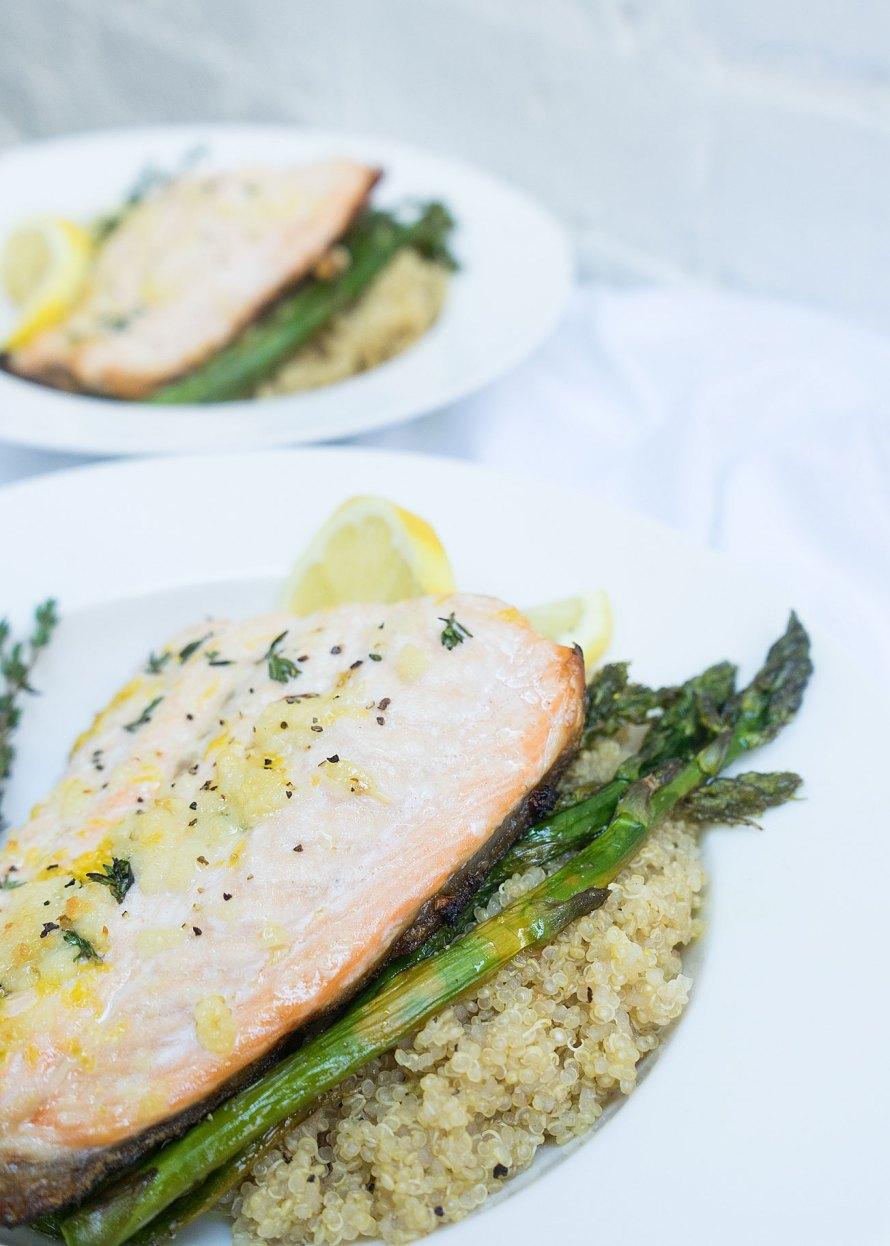 Pan Roasted Crispy Salmon with Quinoa & Lemon Roasted Asparagus