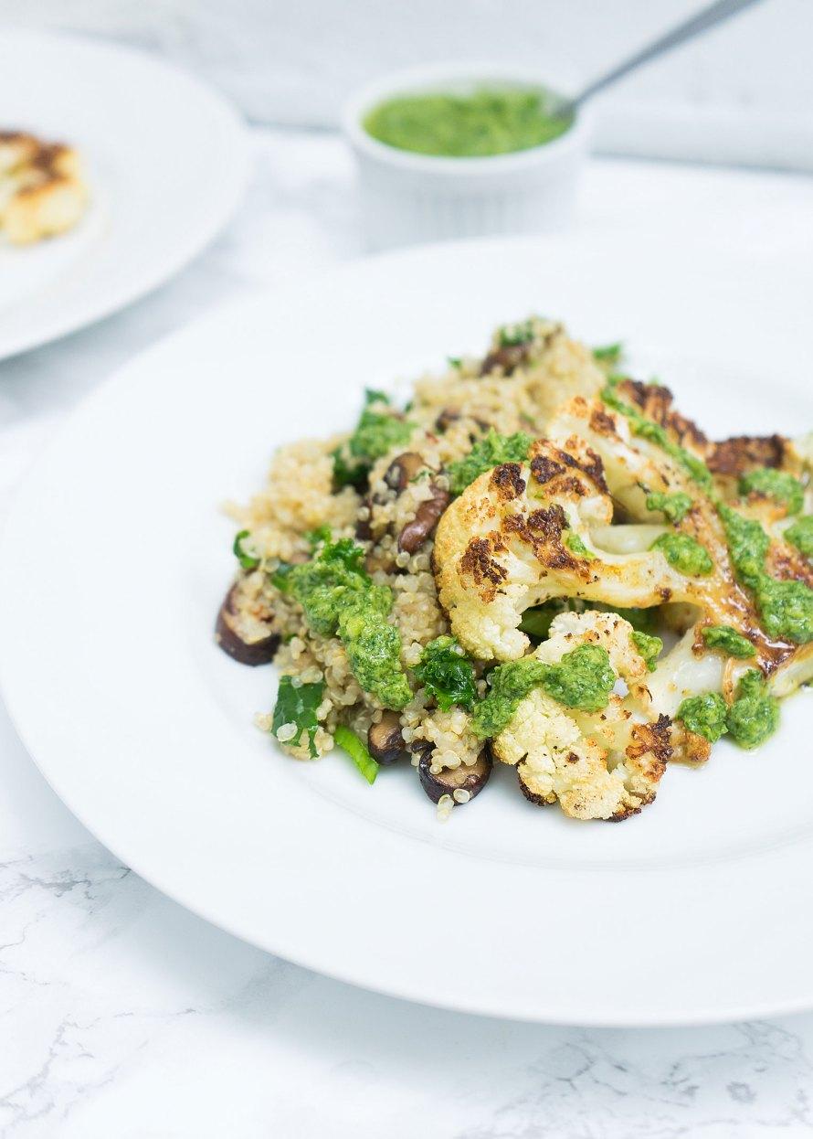 Roasted Cauliflower Steaks with Kale, Mushroom Quinoa