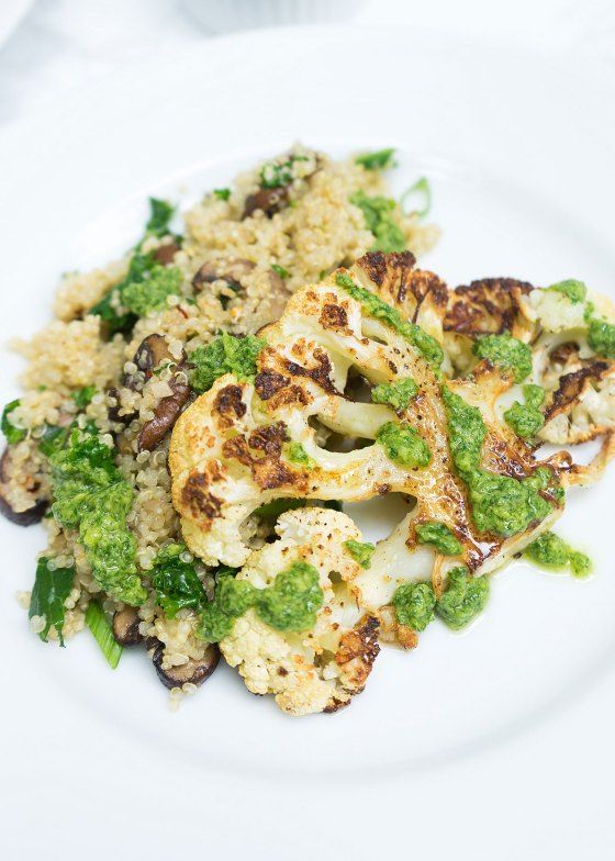 Roasted Cauliflower Steaks with Mushroom Kale Quinoa