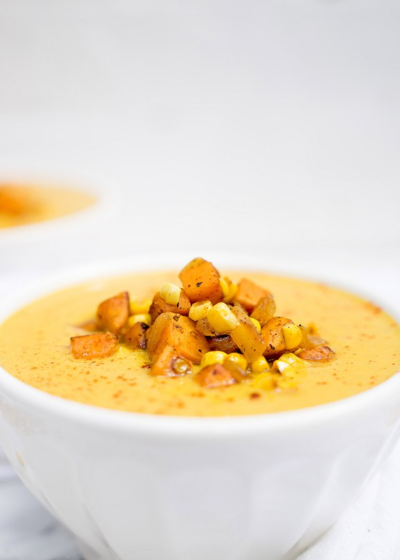 Curried Corn & Sweet Potato Soup