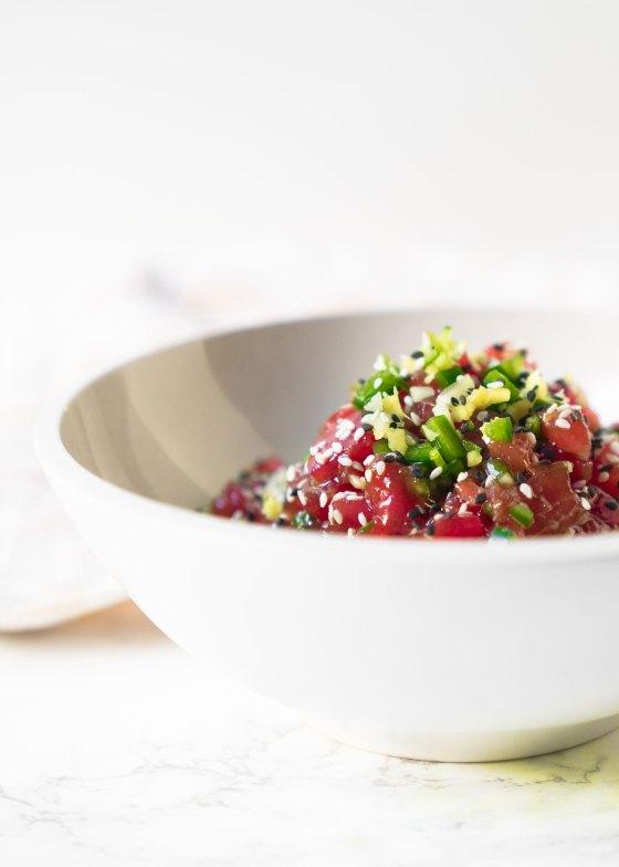 Tuna Tartare Poke Bowls with Wasabi Lime Avocado