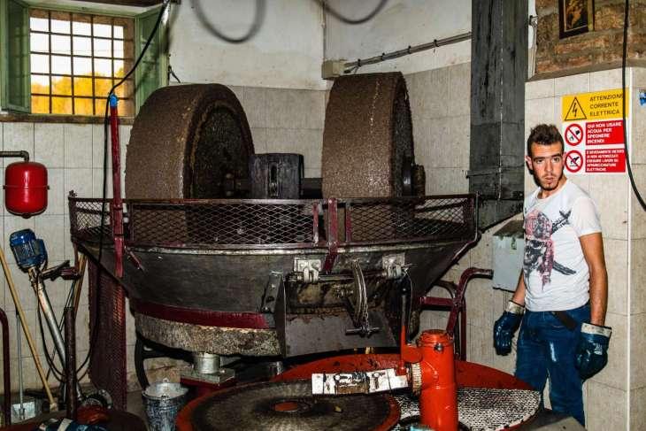 macina a pietra per la spremitura a freddo delle olive