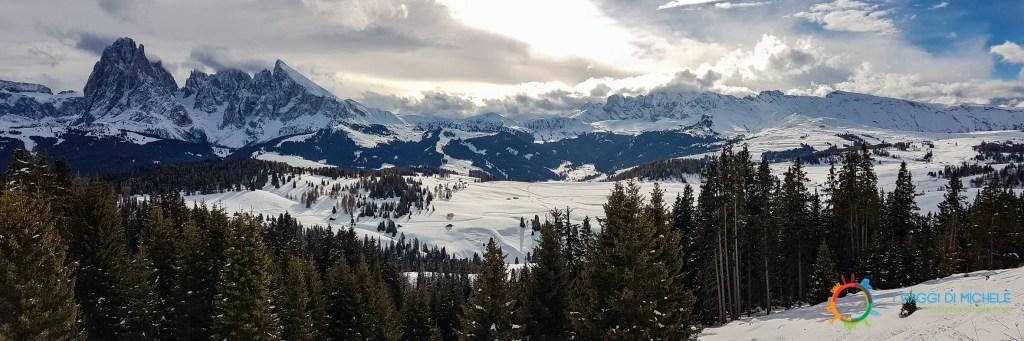 Panorama all'arrivo della Cabinovia da Ortisei - Sciare allAlpe di Siusi