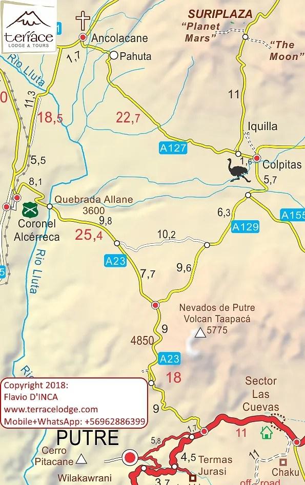 Mappa Itinerario Suriplaza Putre