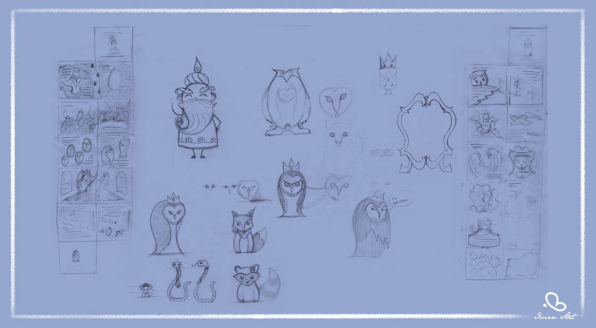 valentina lauria - ivien art - barbagianni, barn owl stories sketches
