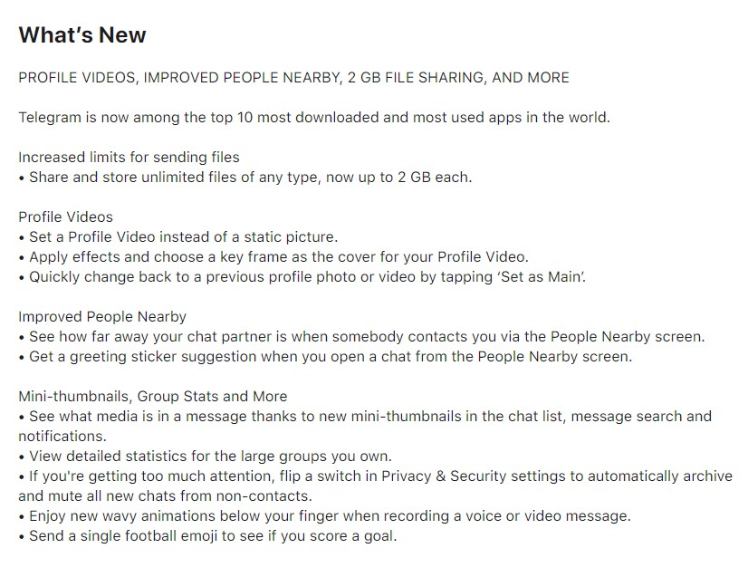 Telegram Update Changes