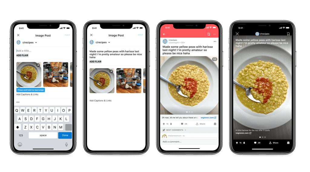 The mobile user interface for posting an Image Gallery