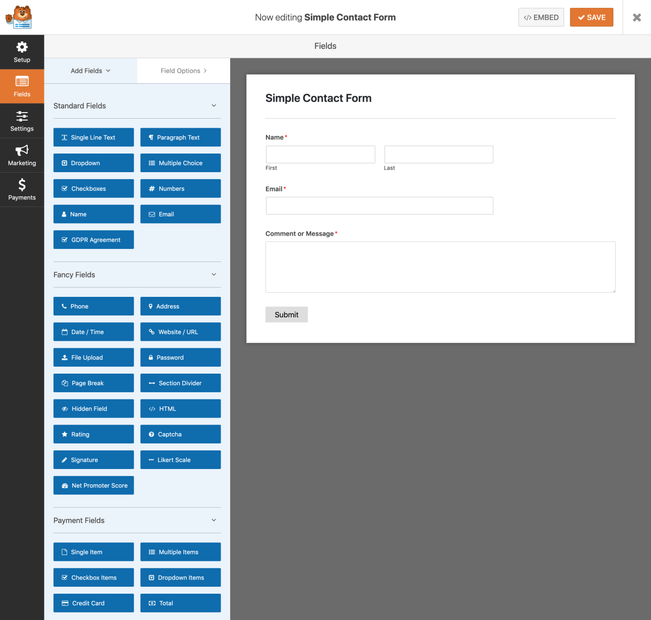 WPForms Screenshot Drag Drop Form Builder