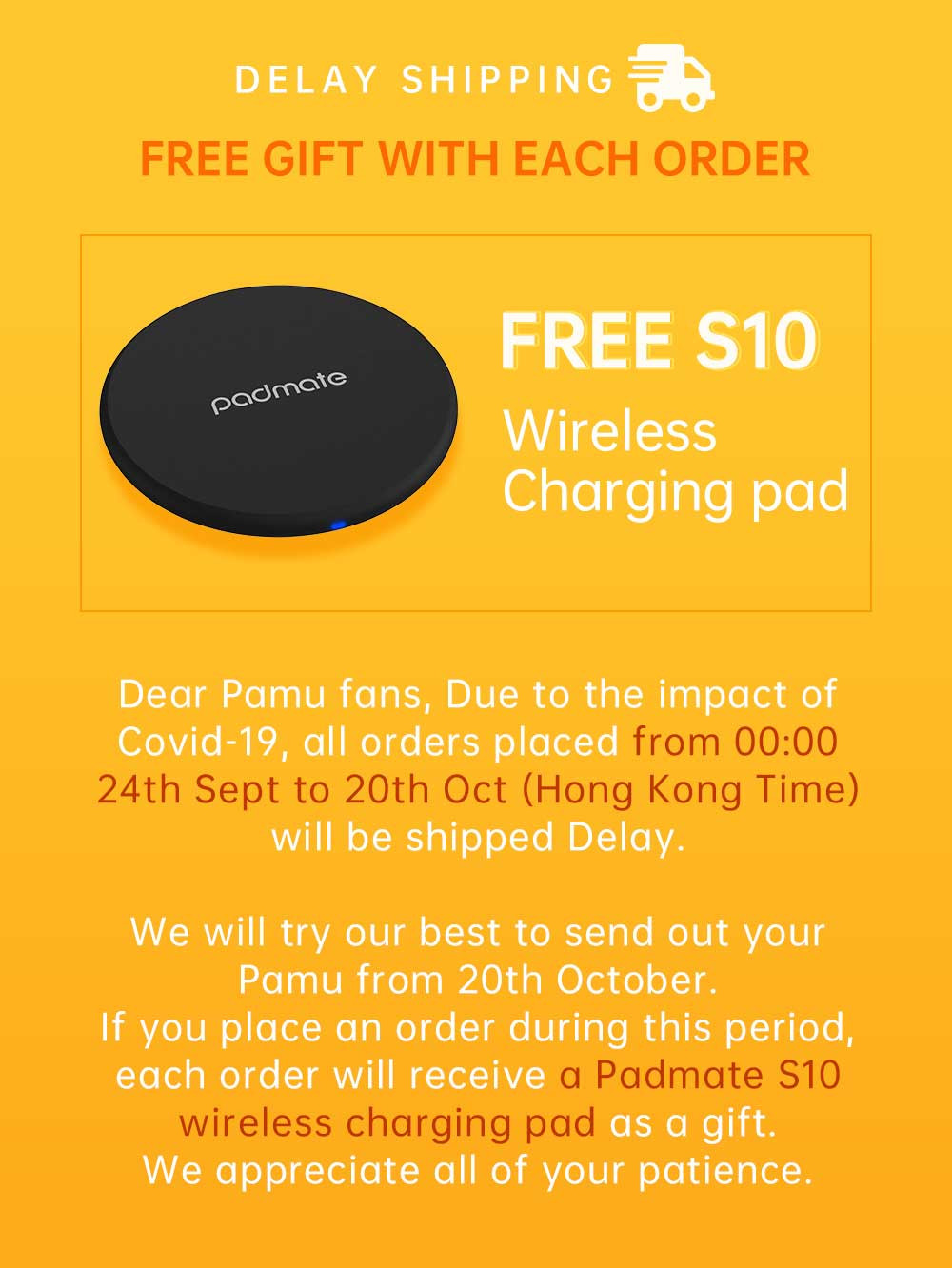 Get Padmate Wireless Charger Pad S10 for free, worth $14.90