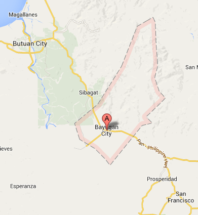 Map of Bayugan City   2013 Bayugan City Barangay Elections 2013