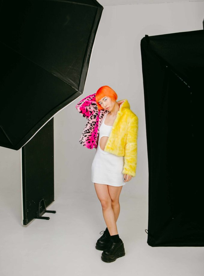 faux fur jacket yellow and pink