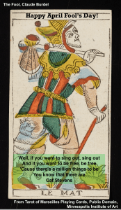 The Fool Tarot Card with text
