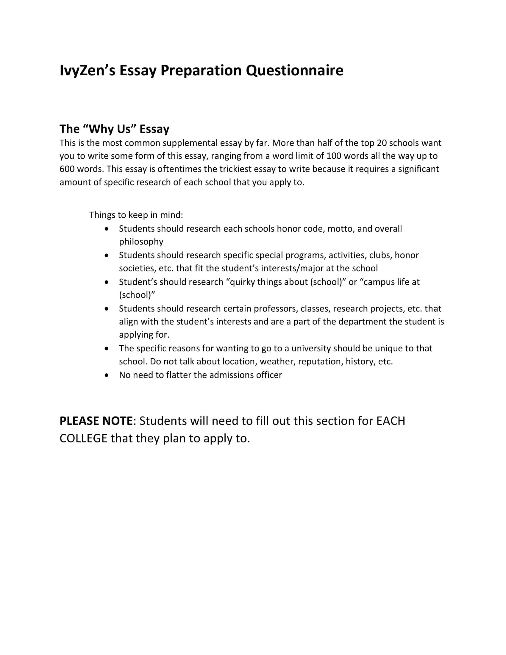 Admissions Essay Organizer