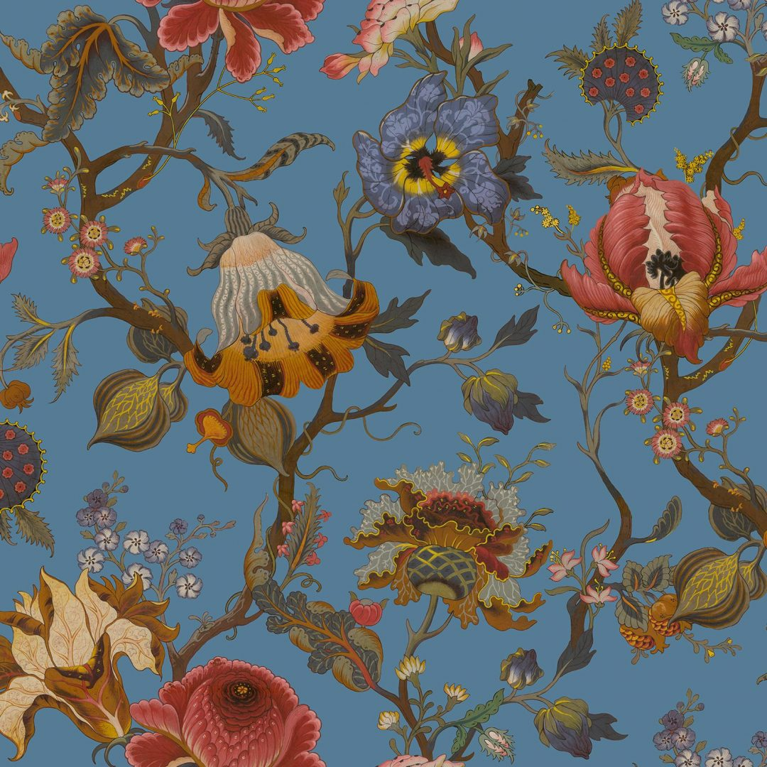 Artemis Azure Vibrant Colourful Floral Wallpaper