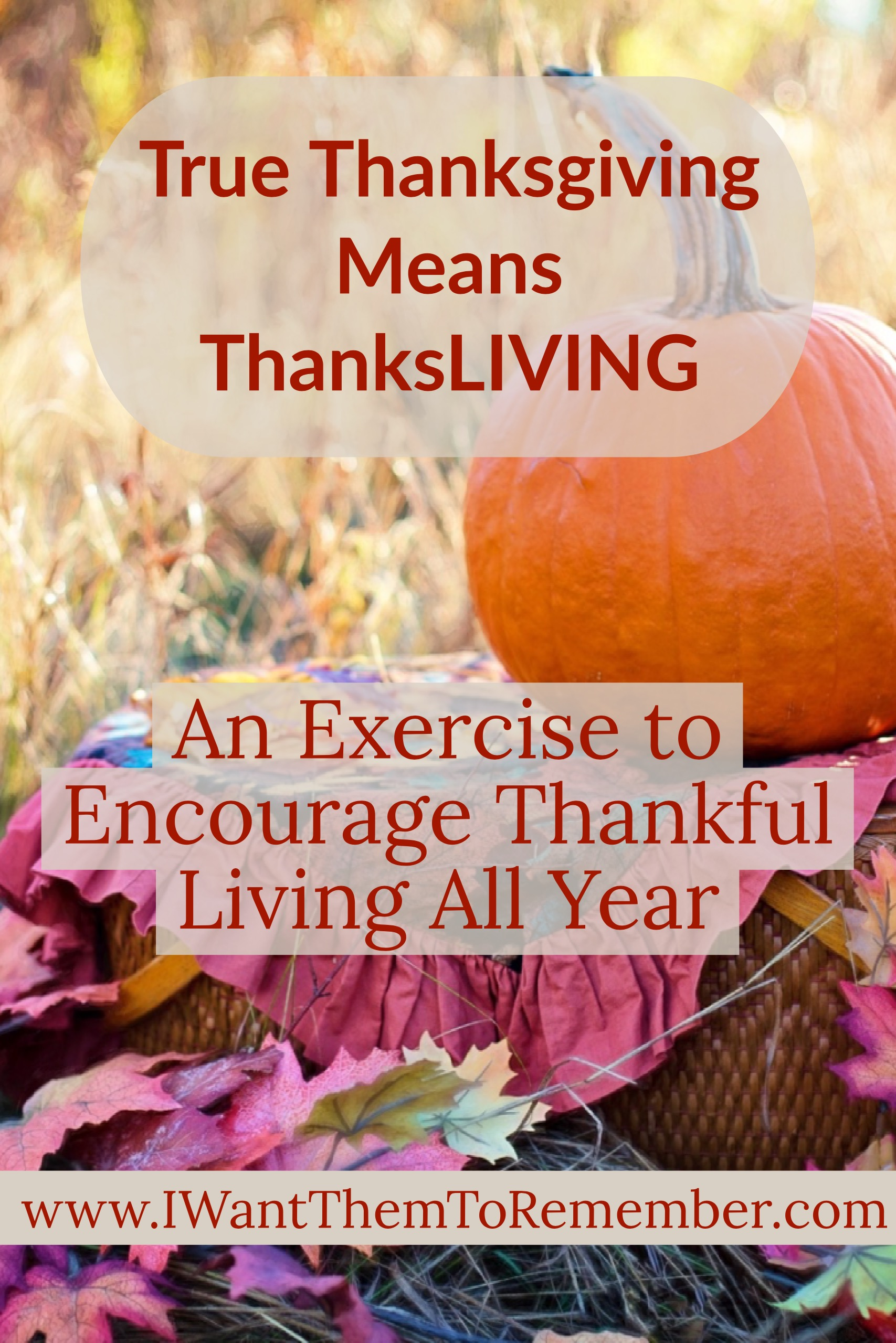 True Thanksgiving is not centered around a month of the year or a holiday season. It does not depend on good food and family gatherings. True Thanksgiving is an attitude of the heart that we express all year through ThanksLIVING.