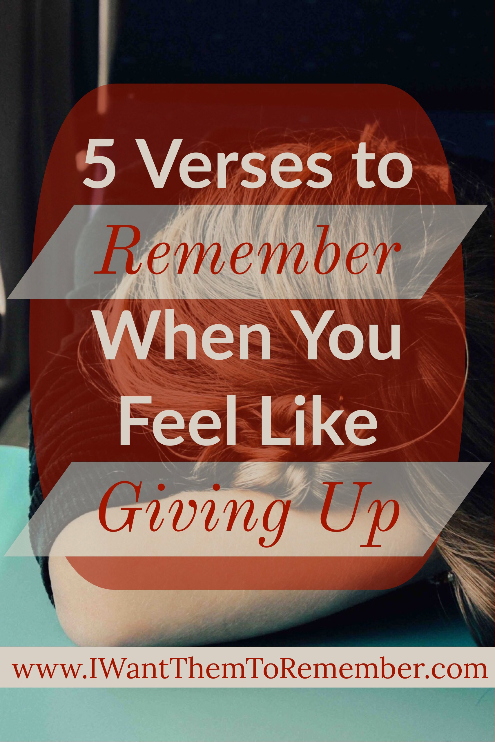 Do you ever feel like giving up? Don't we all at times? When those times come remember these 5 verses to help you continue in obedience and faith.